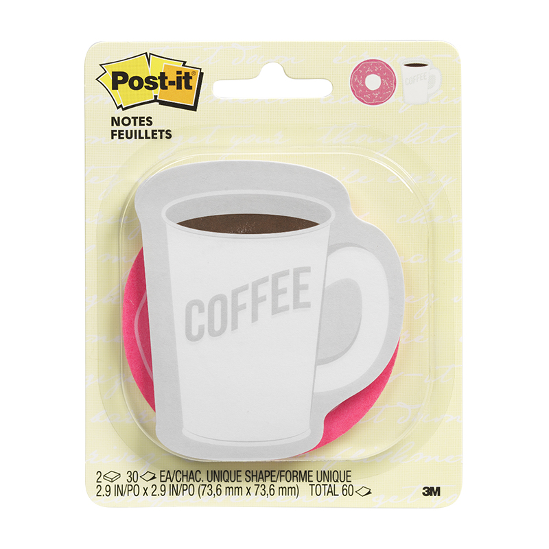 "3M Post-It Notes - Coffee/Donut - 2.9""x2.9"""