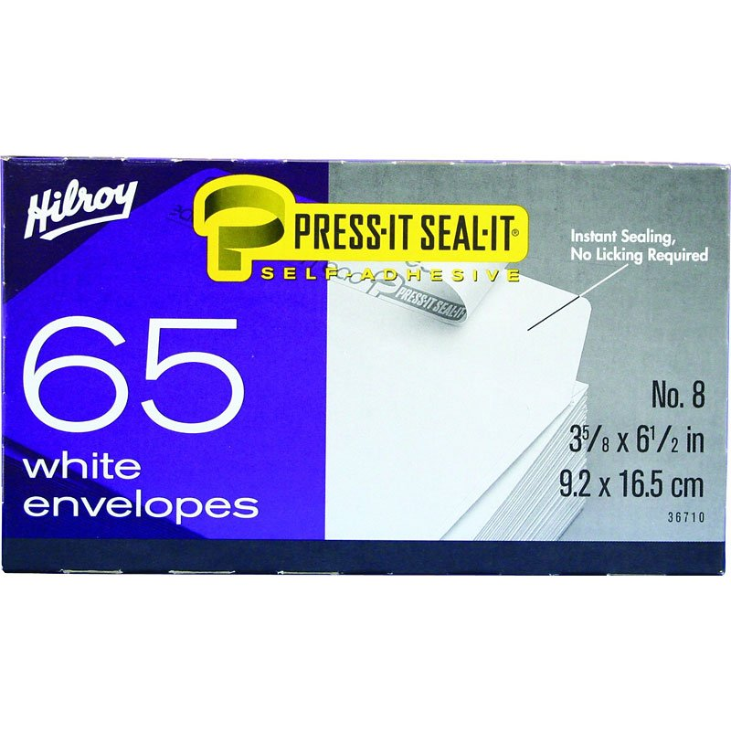 Hilroy Press-It Seal-It No.8 Boxed Envelopes - 65 Pack
