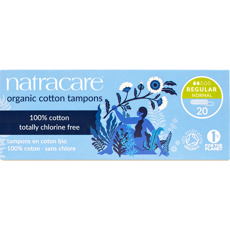 Natracare 100% Certified Organic Cotton Tampons - Regular - 20's