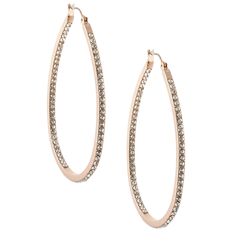Dash of Gold Crystal Teardrop Hoop Earrings - Rose Gold Tone