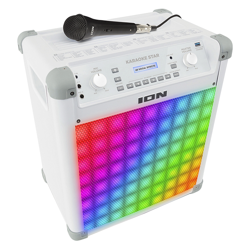 Ion Karaoke Star Wireless Bluetooth Sound System with Vocal Effects and Light Show - White - IPK2