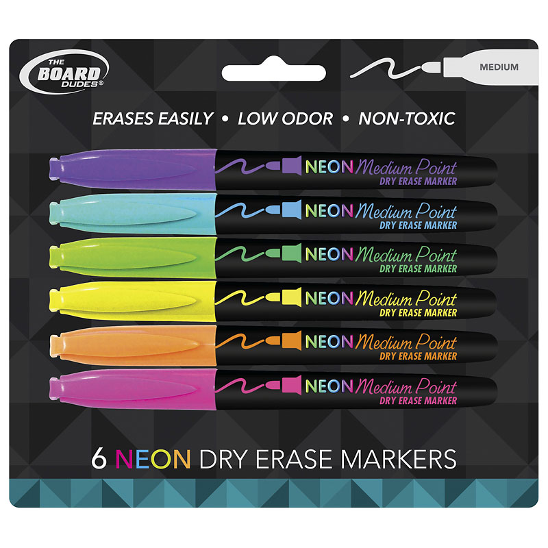 Board Dudes Neon Dry Erase Markers - 6 pack