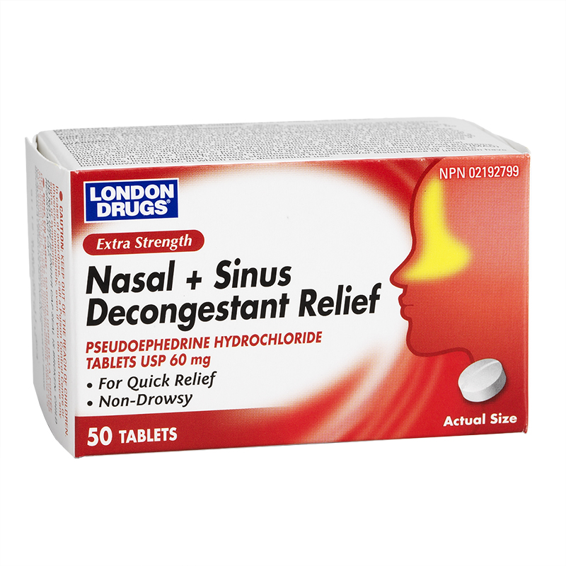 London Drugs Nasal + Sinus Decongestant Relief 60mg - Extra Strength - 50's