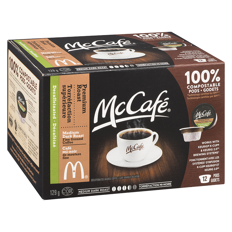 McCafe Coffee Pods - Medium Dark Roast Decaffeinated - 12 pack