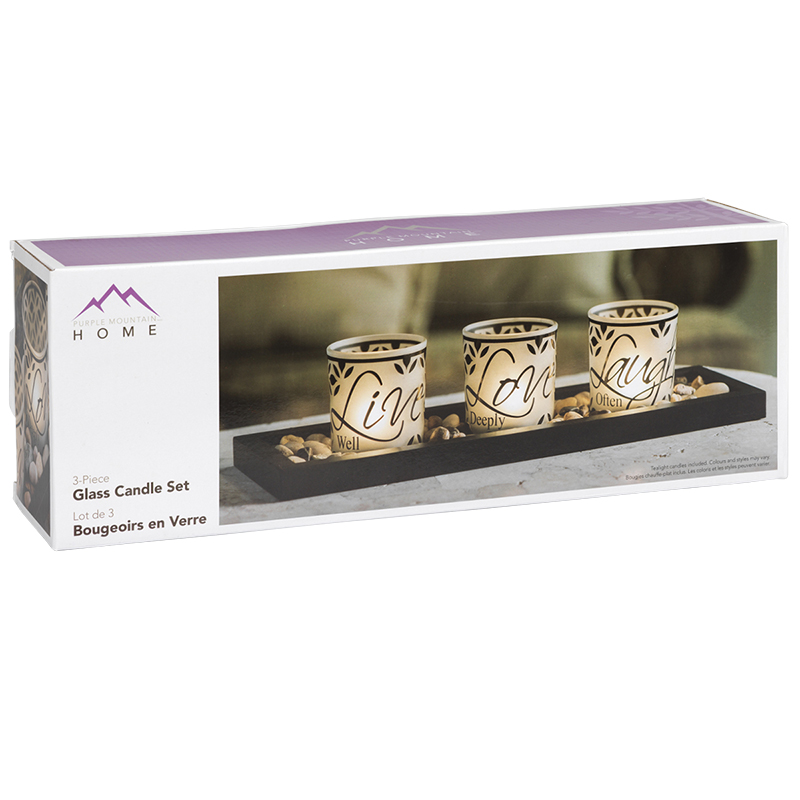 Nasco Candle Tray - Live Love Laugh - 3 piece