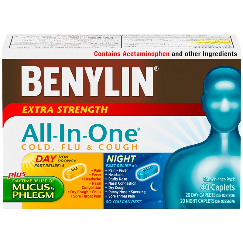 Benylin One All-in-One Cold & Flu Convenience Pack - Extra Strength - 40's