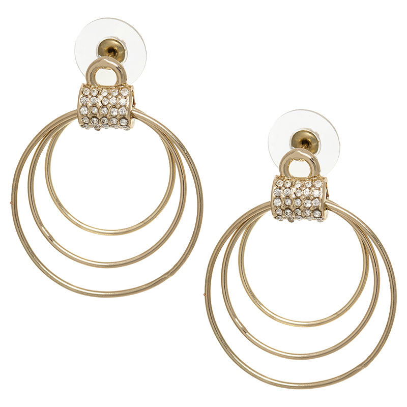 Dash of Gold Door Knocker Multi-Hoop Earrings - Gold Tone