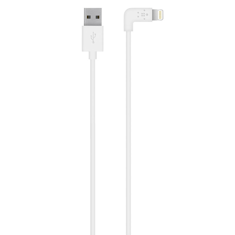 Belkin 90 Degree Lightning to USB Cable - White - F8J147BT04WHT