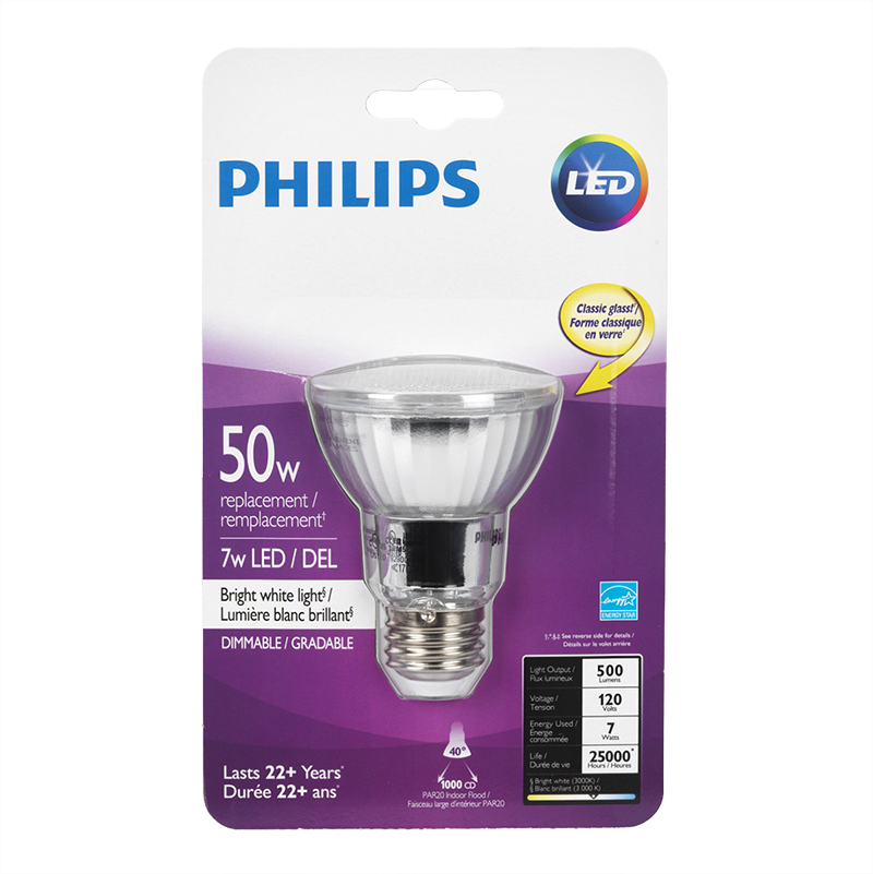 Philips LED Par20 Light Bulb - Bright White - 50w