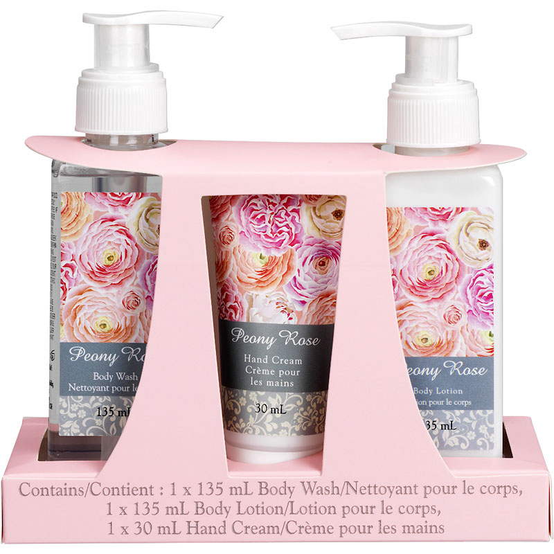 Peony Rose Bath Gift Set - 3 piece