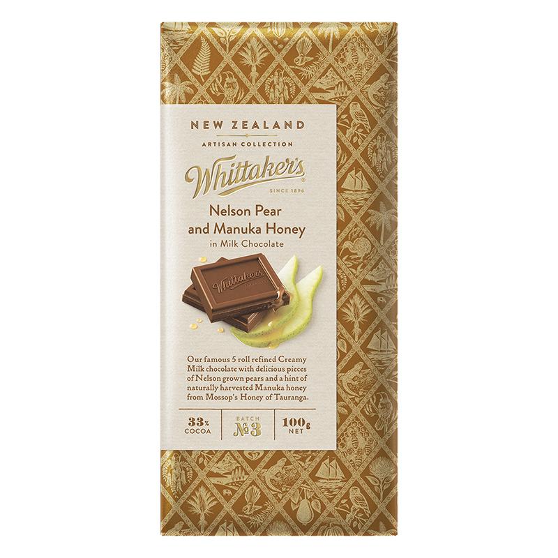 Whittakers Milk Chocolate Nelson Pear And Manuka Honey 100g