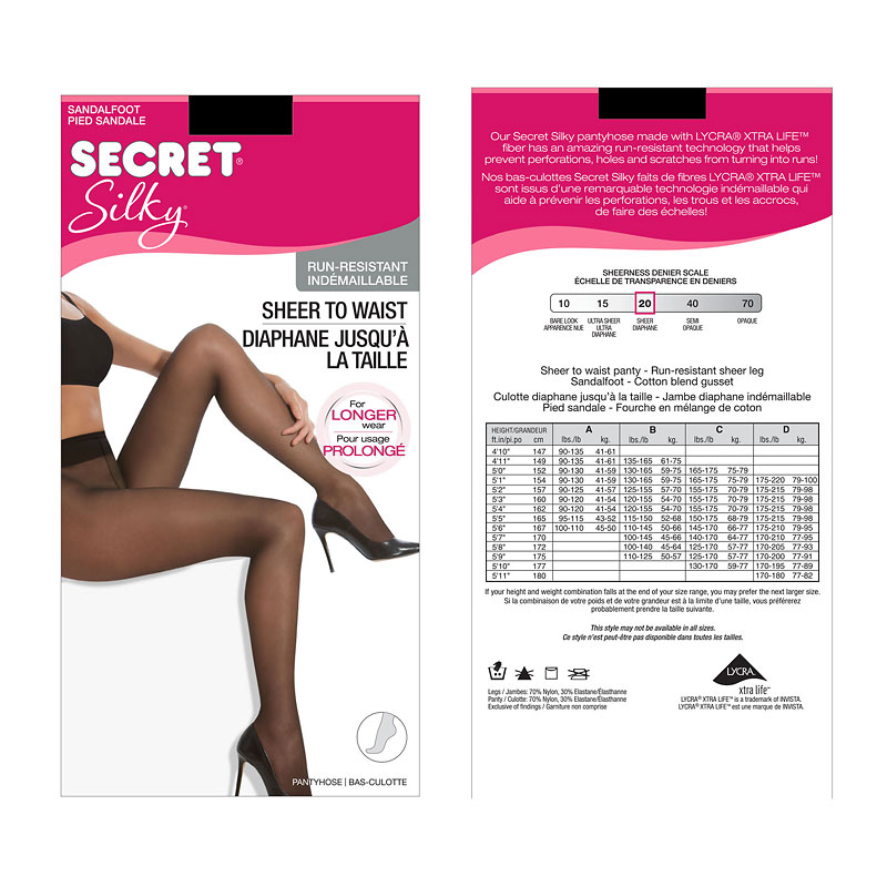 Secret Silky Run Resistant Pantyhose - Black - B