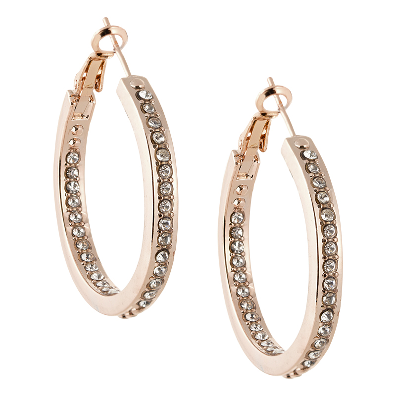Dash of Gold Crystal Hoop Studded Earrings - Rose Gold Tone