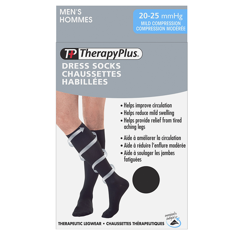 Therapy Plus Mild Compression Men's Dress Socks - Black - Extra Large