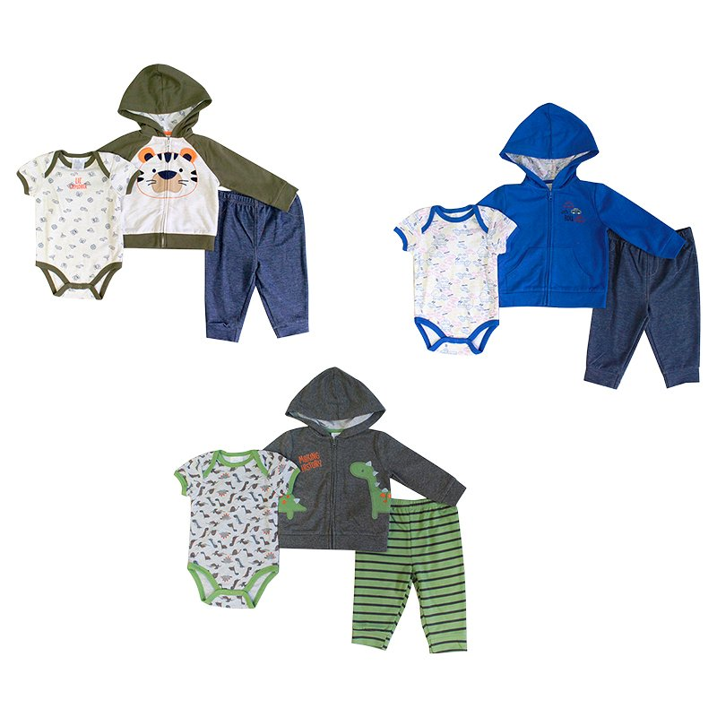 Baby Mode 3-Piece Bodysuit Set - Boys - 12-24 months - Assorted