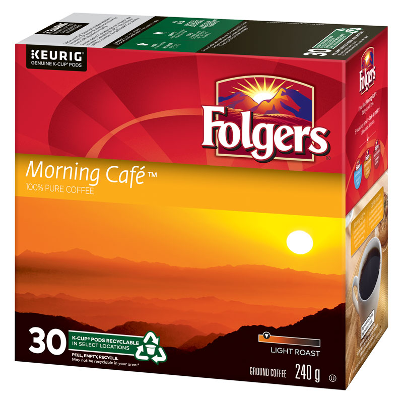 K-Cup Folgers Coffee - Morning Cafe - Light Roast - 30 Pack