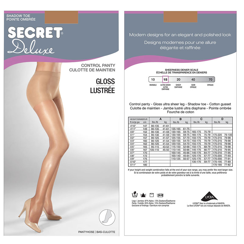 Secret Gloss Control Top Panty Hose - C - Nude