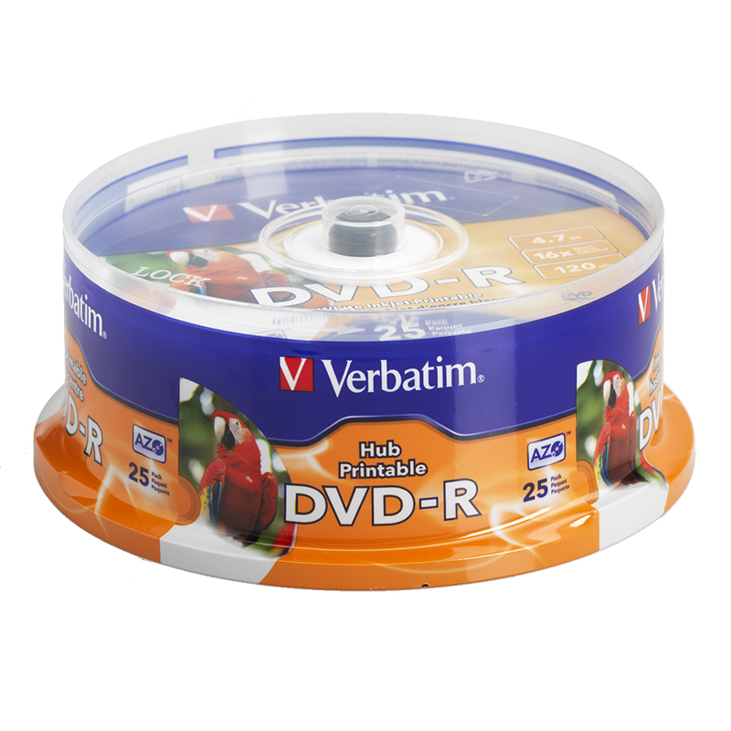 image about Inkjet Printable Dvd identified as Verbatim DVD-R 4.7GB Blank DVD - 16X - Inkjet Printable - 25 pack