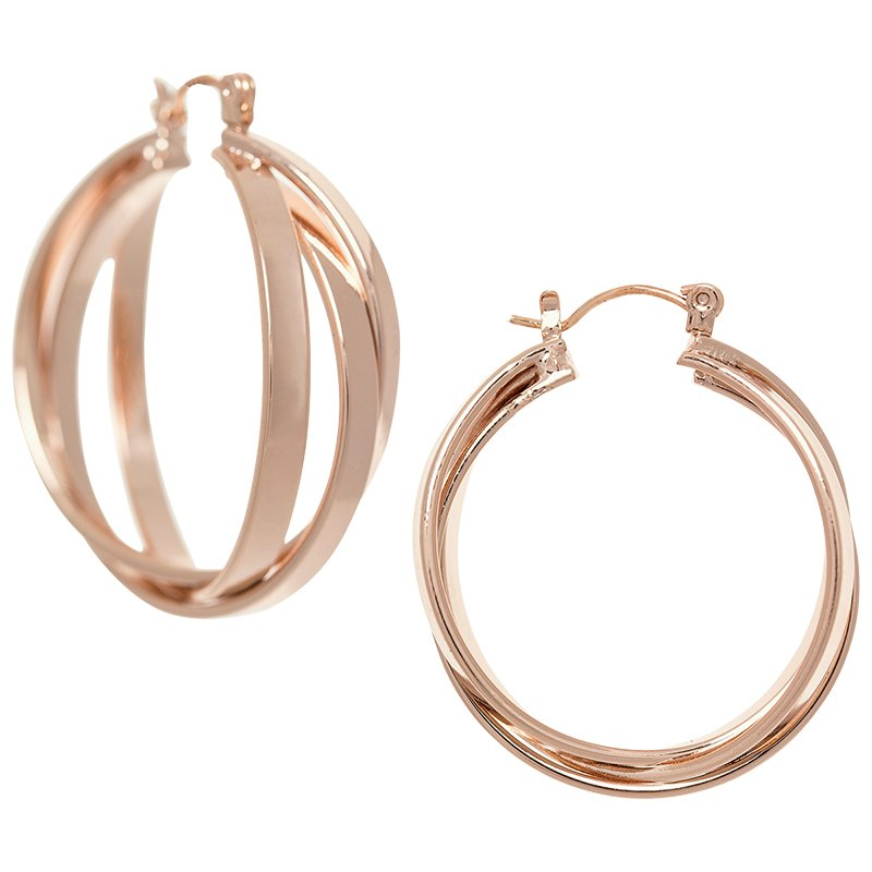Dash of Gold Twisted Hoop Earrings - Rose Gold