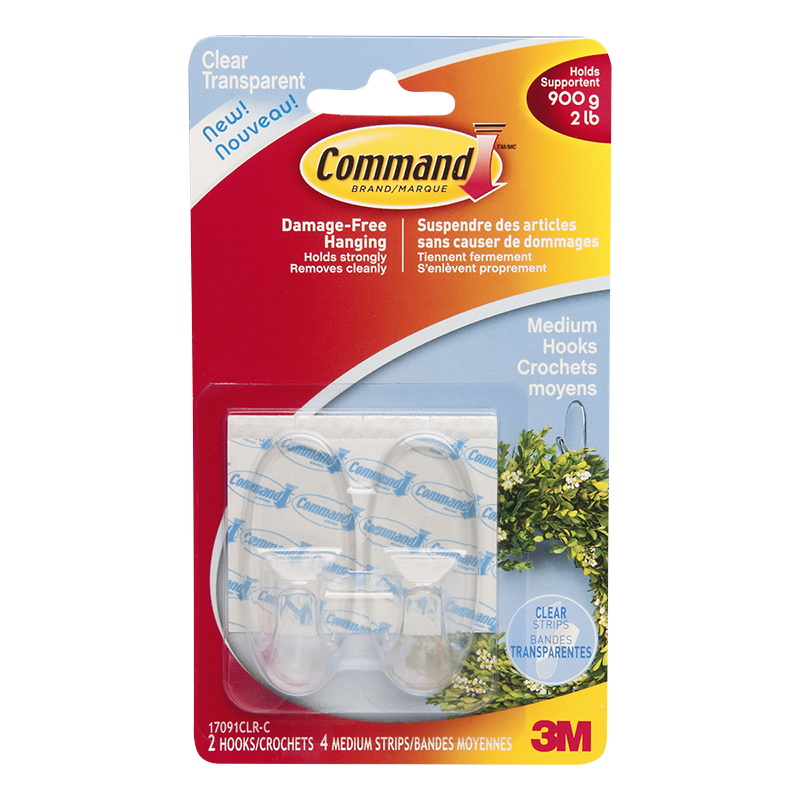 Command™ Medium Hooks - Clear - 2's