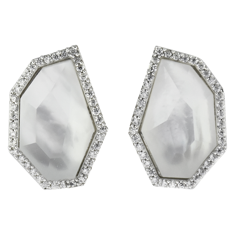 Puccini Cubic Zirconia Jagged Earrings - Rhodium