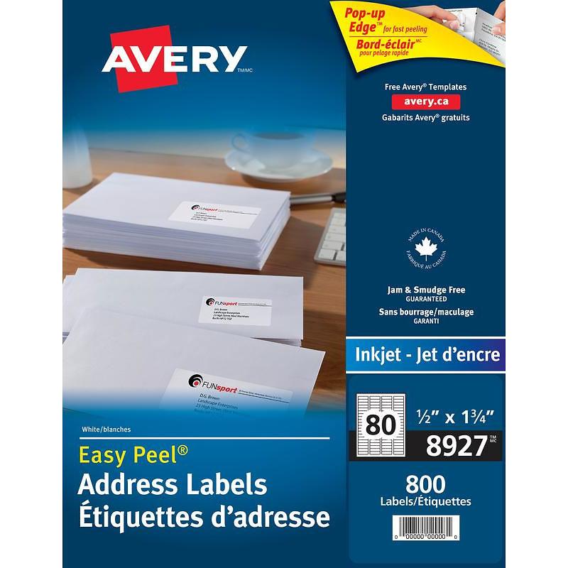 Avery Easy Peel Address Labels - White - 800's - 8927