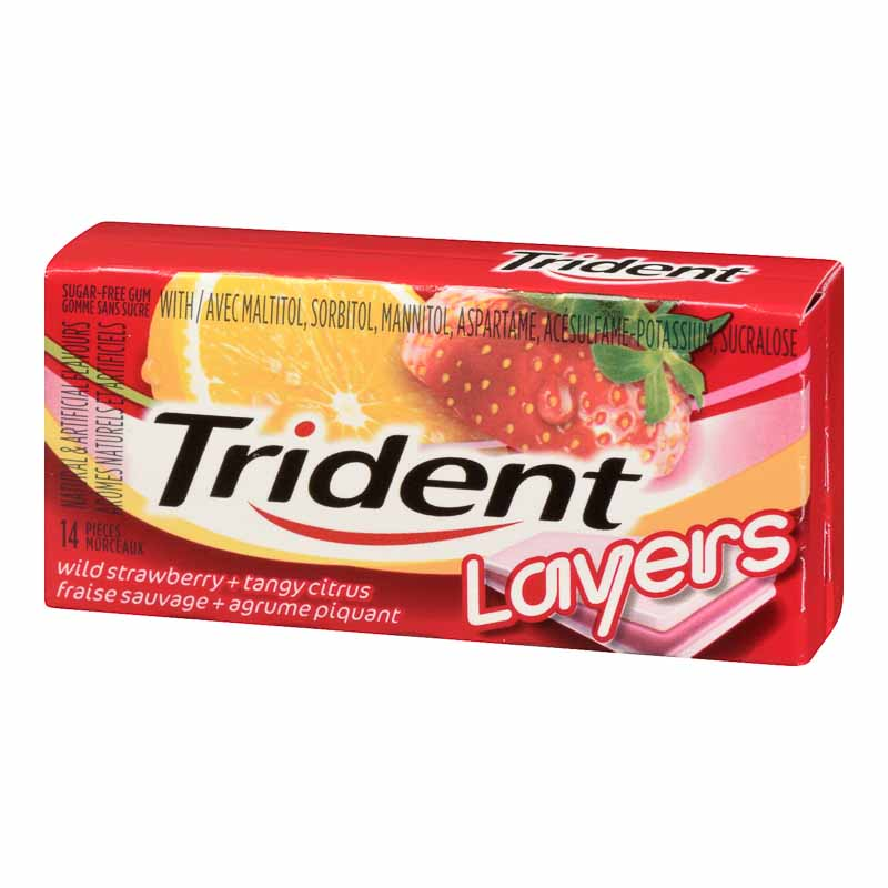 Trident Layers - Wild Strawberry and Tangy Citrus - 14 pieces