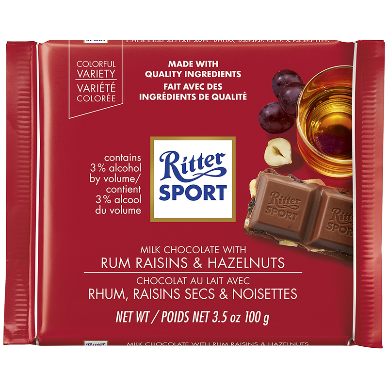 Ritter Sport - Milk Chocolate with Rum Raisins & Hazelnuts - 100g