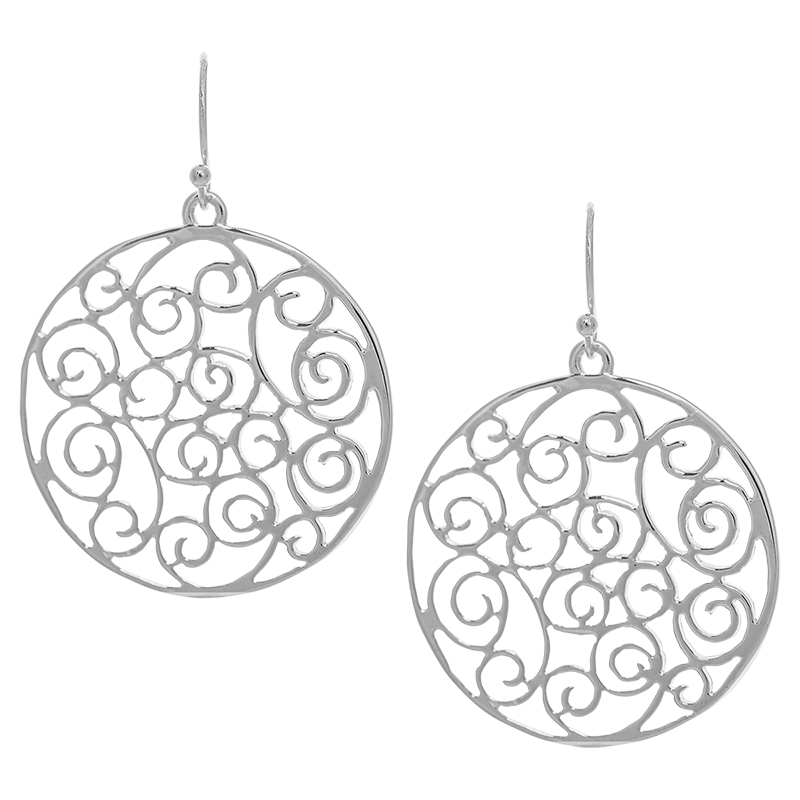 Dash Of Gold Round Filigree Earrings - Silver Tone