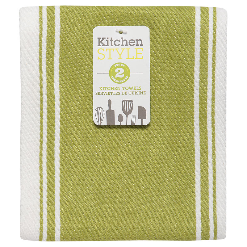 Kitchen Style Stripe Teatowel - Green - 2 pack