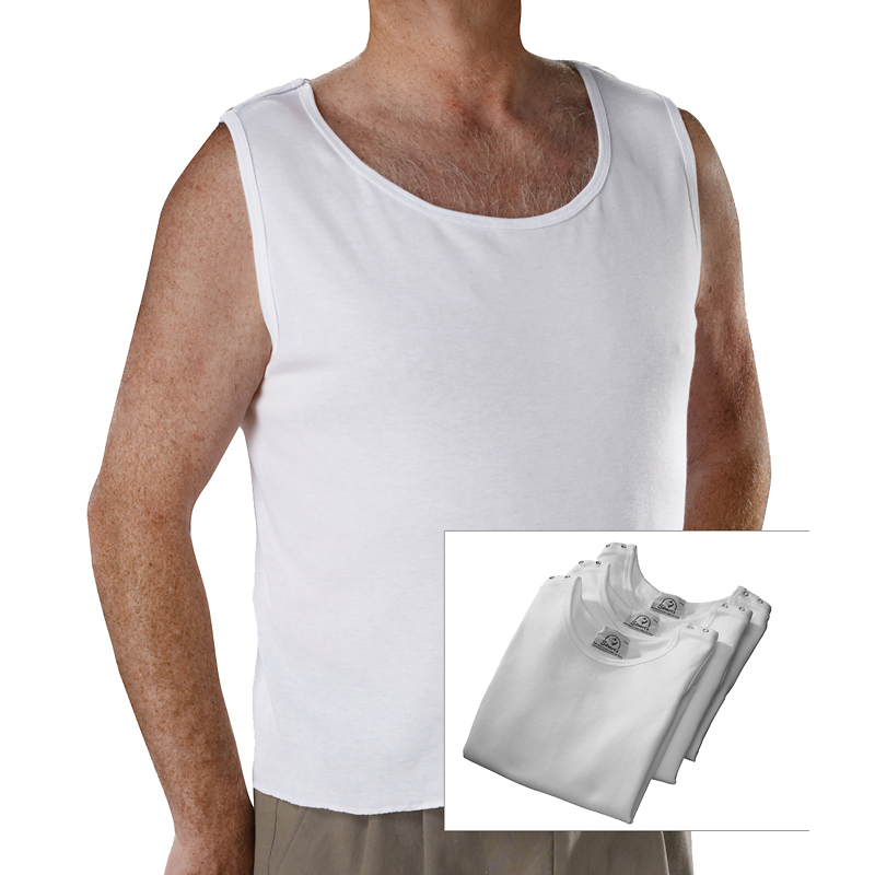 Silvert's Open-Back Undervests - White - 3 pack
