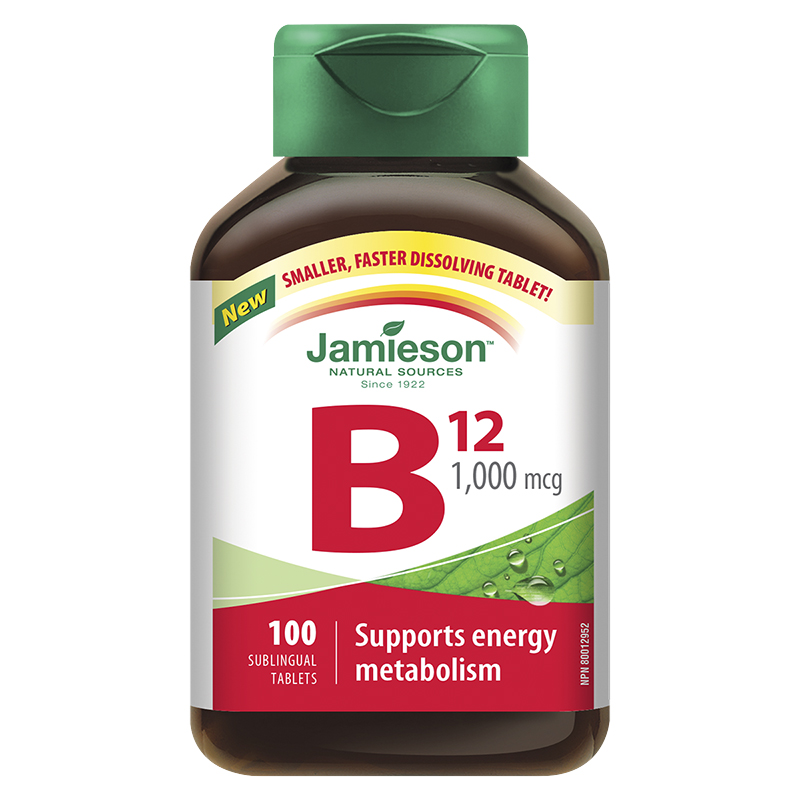 Jamieson Vitamin B12 1,000 mcg (Methylcobalamin) Sublingual Tablets - 100's