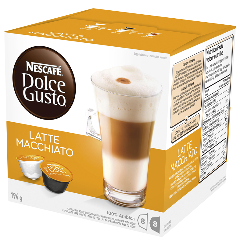 Nescafe Dolce Gusto Two Part Coffee Pods - Latte Macchiato - 8's