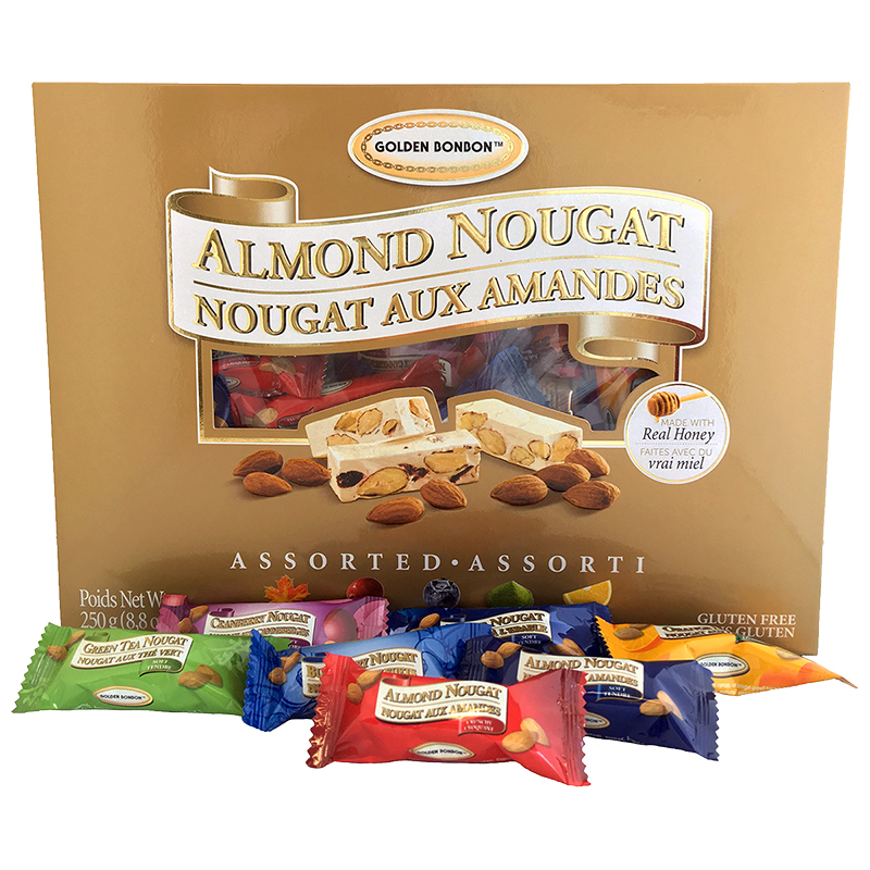 Golden Bonbon Almond Nougat - Assorted - 250g