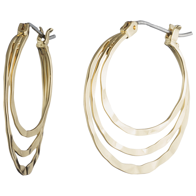 Nine West Tri-Circle Hoop Earrings - Gold