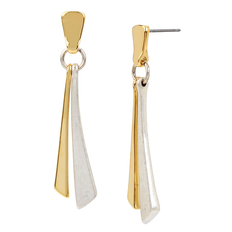 Robert Lee Morris Shaky Stick Earrings - Two Tone