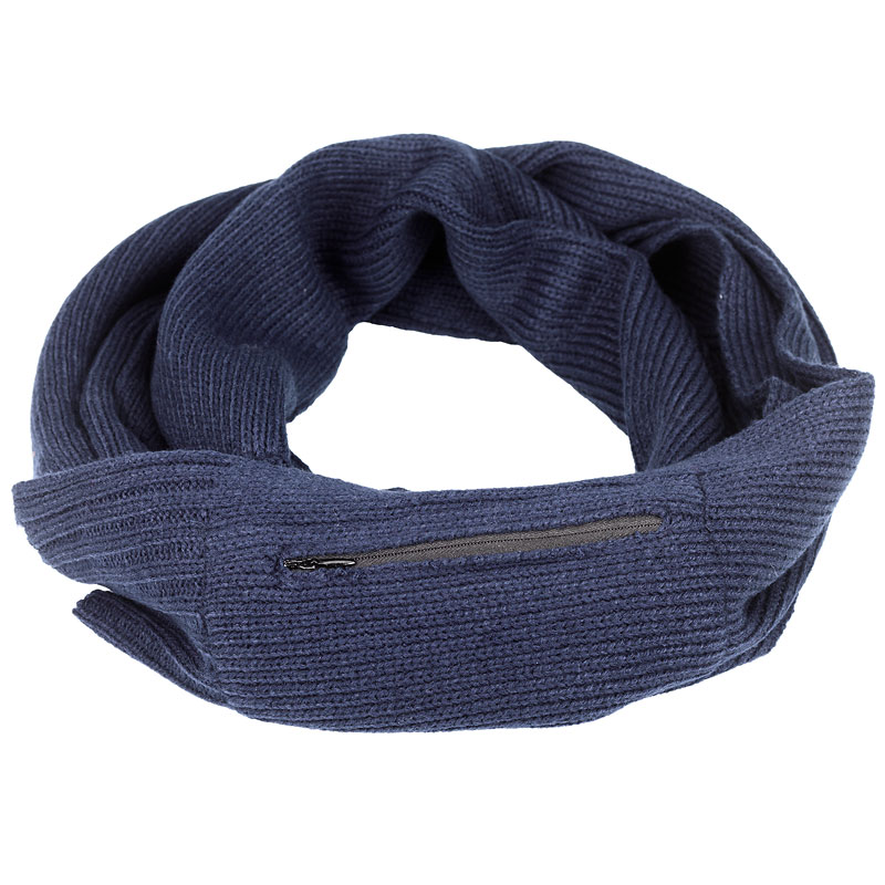 Point Zero Men's Scarf with Pocket - Navy