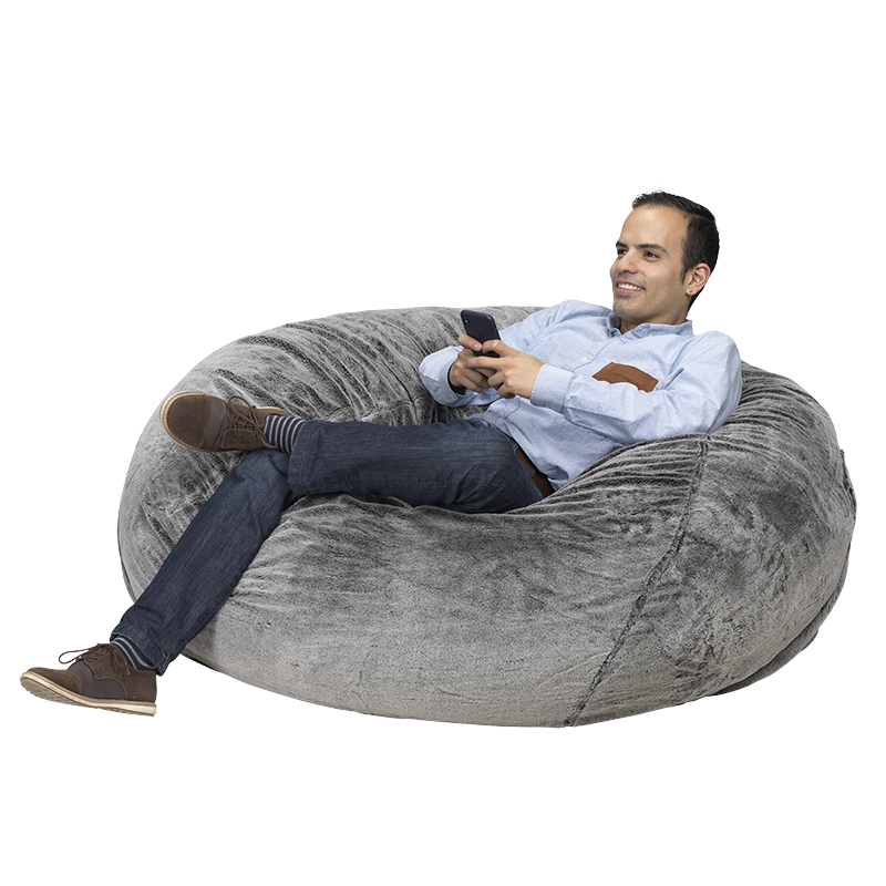 London S Giant Foam Bean Bag Chair Grey
