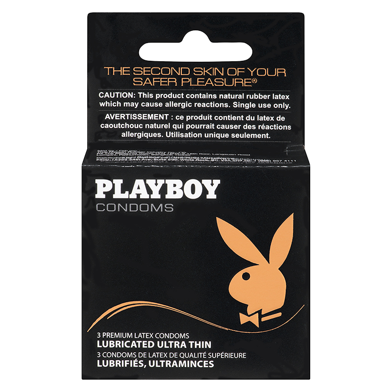 Playboy Ultra-Thin Lubricated Condoms - 3's