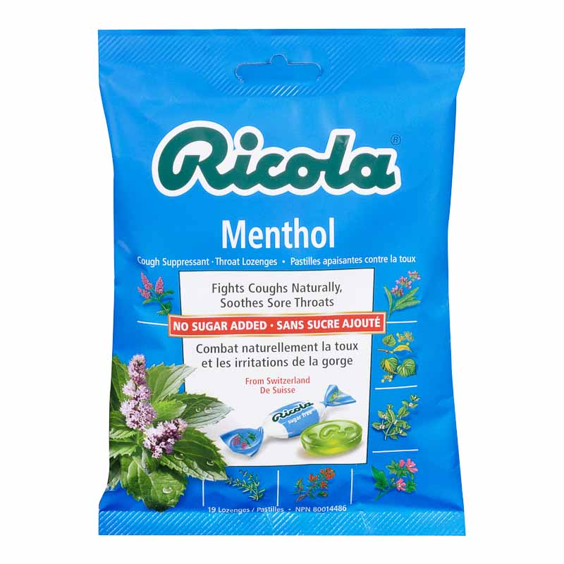 Ricola Cough Suppressant Throat Lozenges - Menthol No Sugar Added - 75g