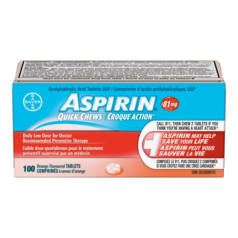 Aspirin 81mg Quick Chews - Orange - 100 tablets
