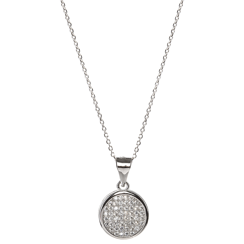 Charisma Sterling Silver Disc Pendant Necklace - Silver