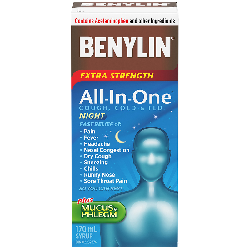 Benylin All-in-One Extra Strength Cold & Flu Nightime Liquid - 170ml