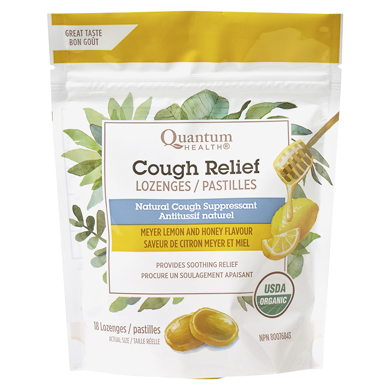 Quantum Health Cough Relief Lozenges - Meyer Lemon Honey - 18's