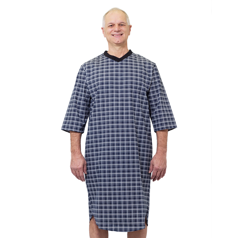 Silvert's Men's Open-Back Nightgown - Navy Squares - Small