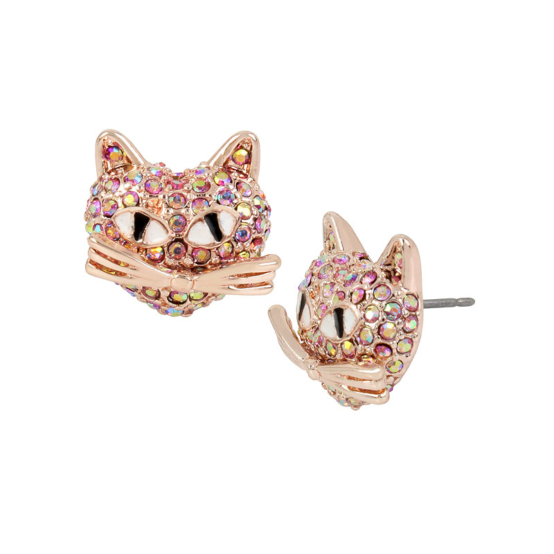 Betsey Johnson Pink Cat Stud Earrings - Rose Gold