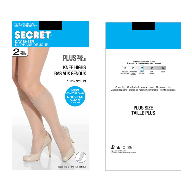 Secret Knee Highs with Reinforced Toe -  Queen Size - 2 pair