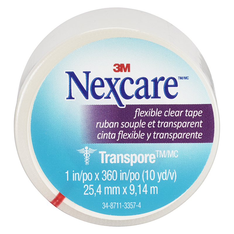 3M Nexcare Clear Transpore Stretchy Tape - 25.4mm x 9.14m
