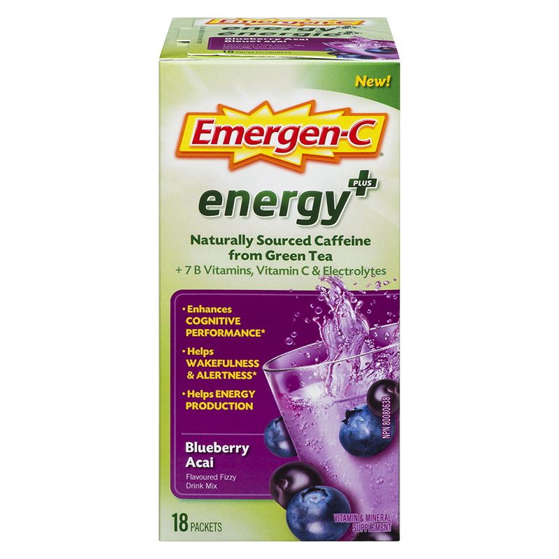 Emergen-C Energy Plus - Blueberry Acai - 18's