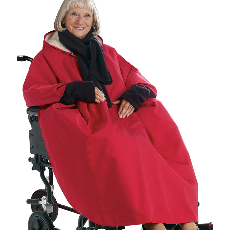 Silvert's Pile-Lined Winter Wheelchair Cape - Red